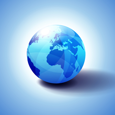 Europe and Africa, Background with Globe Icon Glossy, Shiny Sphere with Global Map in Subtle Blues giving a transparent feel. 일러스트
