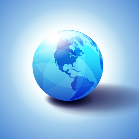 North and South America Background with Globe Icon, Glossy Shiny Sphere with Global Map in Subtle Blues giving a transparent feel.
