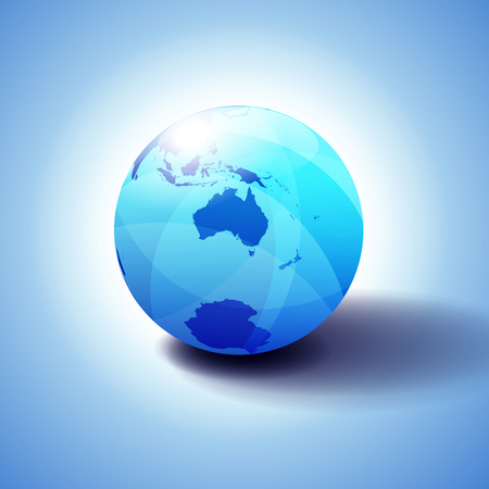 Australia and New Zealand, South Pole, Antarctica, Background with Globe Icon 3D illustration