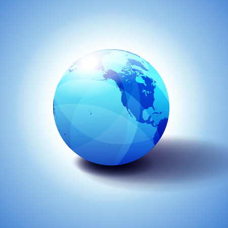 Glossy, Shiny Sphere with Global Map in Subtle Blues giving a transparent feel.  イラスト・ベクター素材