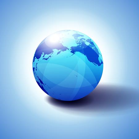 Pacific Rim North America, Canada, Siberia Russia and Hawaii Background with Globe Icon 3D illustration