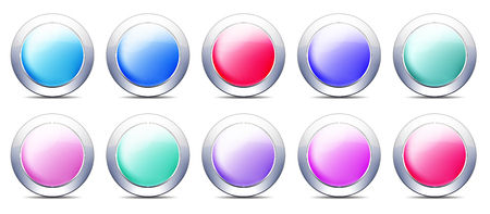 Pastel Color Buttons, Icon set with Metal Border