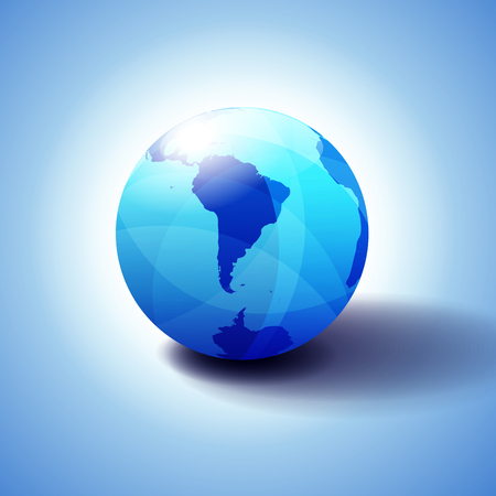South America and part of the South Pole Background with Globe Icon 3D illustration, Glossy, Shiny Sphere with Global Map in Subtle Blues giving a transparent feel