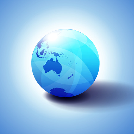 Australia and New Zealand, Globe Icon 3D illustration, Glossy, Shiny Sphere with Global Map in Subtle Blues giving a transparent feel