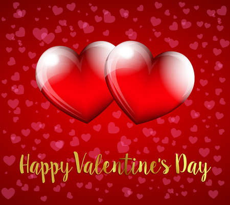 Happy Valentines Day, Hearts on Heart Background - Valentine Card