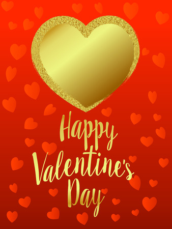 Gold Heart Happy Valentines Day, Heart on Heart Background - Valentine Card