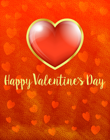 Golden Card Red Heart Happy Valentines Day, Heart on Heart Background - Valentine Card