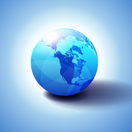 Canada, North America, Siberia and Japan Global World, Globe Icon 3D illustration, Glossy, Shiny Sphere with Global Map in Subtle Blues giving a transparent feel Illustration