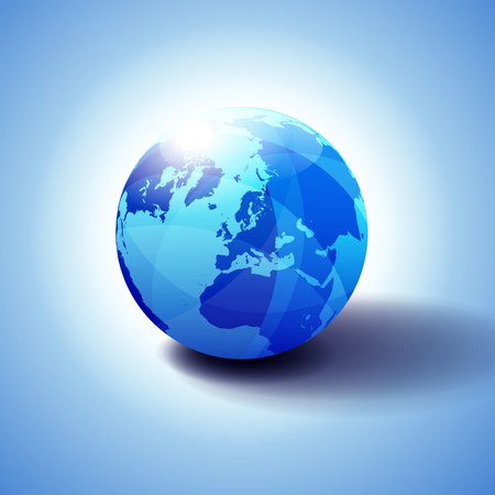 North Pole, Europe Top of the World Global World, Globe Icon 3D illustration, Glossy, Shiny Sphere with Global Map in Subtle Blues giving a transparent feel