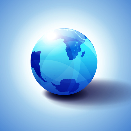 World Background South Pole and South Africa, Antarctica, Global World, Globe Icon 3D illustration, Glossy, Shiny Sphere with Global Map in Subtle Blues giving a transparent feel