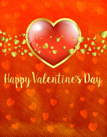 Golden Valentines Day Card, Gold and Red Heart on Red Heart Background - Valentine Card 일러스트