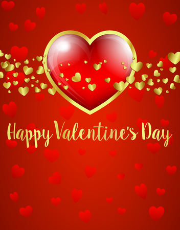 Valentines Day Card, Gold and Red Heart on Red Heart Background