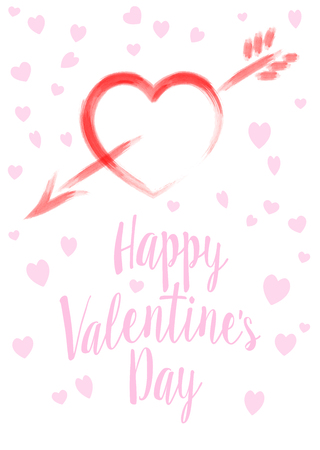 Watercolor Valentines Day Card, Red Heart with Pink Heart Background - Valentine Card