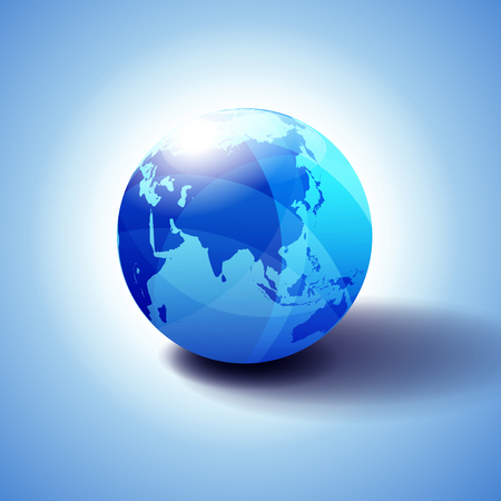 China, Asia and Japan Global World Globe Icon 3D illustration, Glossy, Shiny Sphere with Global Map in Subtle Blues giving a transparent feel