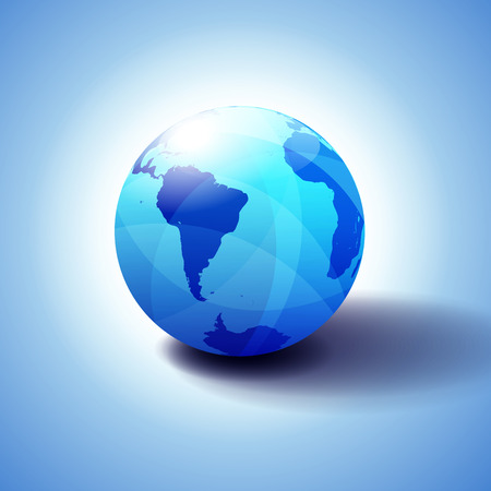 South America and Africa Global World Globe Icon 3D illustration, Glossy, Shiny Sphere with Global Map in Subtle Blues giving a transparent feel 일러스트