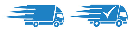 Fast Shopping Delivery Trucks Service Icons Symbol Button