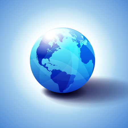 North and South America, Europe, Africa Global World, Globe Icon 3D illustration, Glossy, Shiny Sphere with Global Map in Subtle Blues giving a transparent feel Illustration