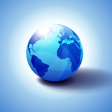 Europe, North and South America, Africa Global World, Globe Icon 3D illustration, Glossy, Shiny Sphere with Global Map in Subtle Blues giving a transparent feel