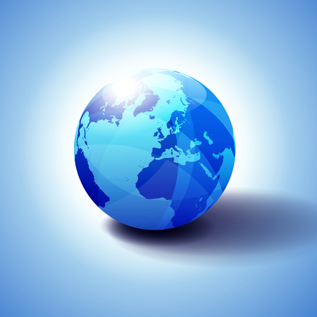 Europe, Russia and Africa, Global World, Globe Icon 3D illustration, Glossy, Shiny Sphere with Global Map in Subtle Blues giving a transparent feel