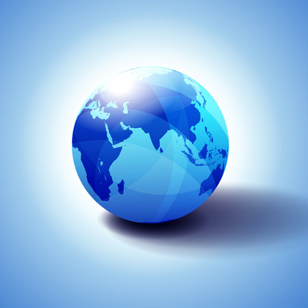 India, Africa, China, Indian Ocean, Global World, Globe Icon 3D illustration, Glossy, Shiny Sphere with Global Map in Subtle Blues giving a transparent feel 일러스트