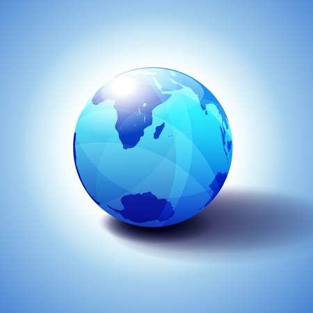 South Africa, Madagascar, and the South Pole, Globe Icon 3D illustration, Glossy, Shiny Sphere with Global Map in Subtle Blues giving a transparent feel Vector Illustratie