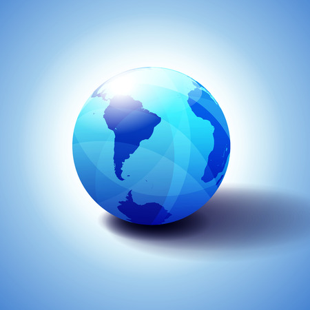 South America,South Pole and Africa Global World, Globe Icon 3D illustration, Glossy, Shiny Sphere with Global Map in Subtle Blues giving a transparent feel Illustration