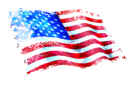 American Flag Painting as a layered vector file Background