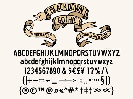 Blackdown Gothic Typeface - A compact, adaptable, easily readable and accessible Gothic typeface for use in text. 일러스트