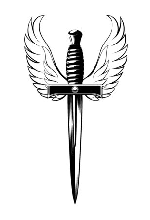 Winged Dagger, black and white illustration of a dagger with wings on a white background