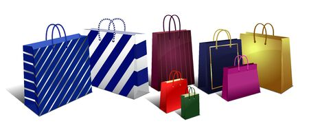 Shopping Bags, Carrier Bags Icons Symbols, Selection of Stylish Shopping Bags - Eight Designs