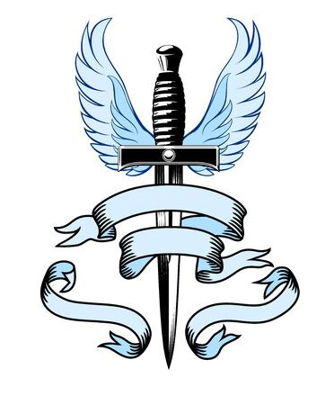 Winged Dagger, with Banner illustration of a dagger with blue wings on a white background with space for your text.