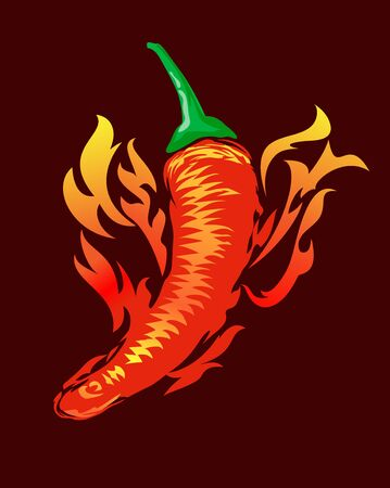 Flaming hot Chilli illustration drawn in a abstract style 写真素材 - 143436121