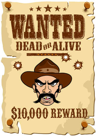 WANTED Outlaw Poster, Wild West template in a cartoon style