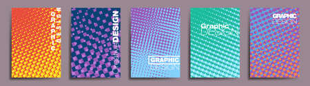 Cover Graphic Design, Abstract geometric pattern background with texture for business brochure cover design, social media, vector, banner, poster, template. In orange, yellow, purple, blue and green. 일러스트