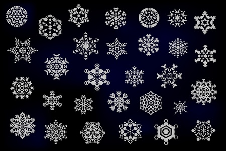 natal: Set of different snowflakes