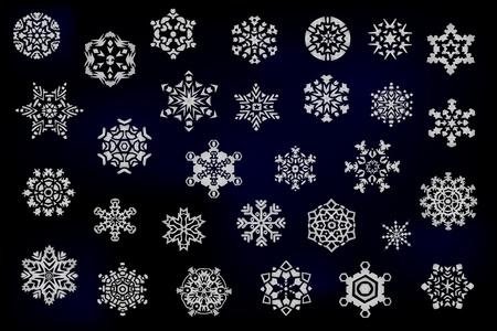 snow flakes: Set van verschillende sneeuwvlokken Stock Illustratie