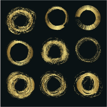 scribble: Set of different gold circles vector
