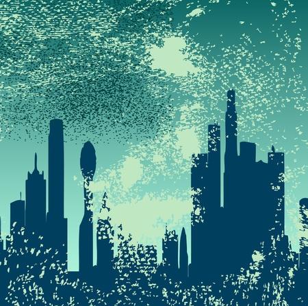 Grunge Skyscrapers Vector