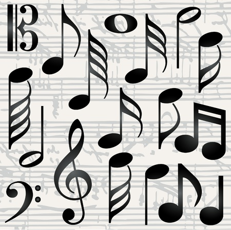 musical notation: Collection of music symbols Illustration