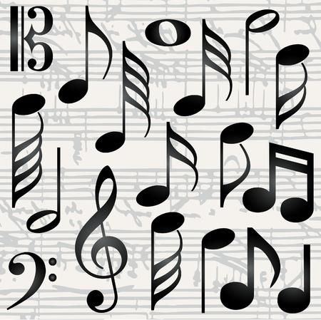 music staff: Collection of music symbols Illustration