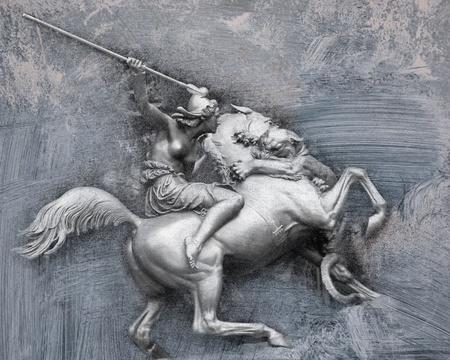 krieger: Bronze Krieger Detail aus Venedig Lizenzfreie Bilder
