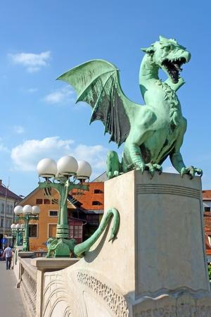 Dragon bridge, Ljubljana, Slovenia, Europe Stock Photo - 11663619
