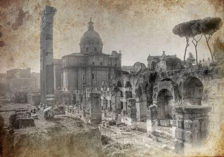 로마에서 오래 된 엽서 - 예술적 버전 에디토리얼
