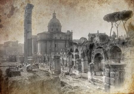 Old postcard from Rome - artistic version
