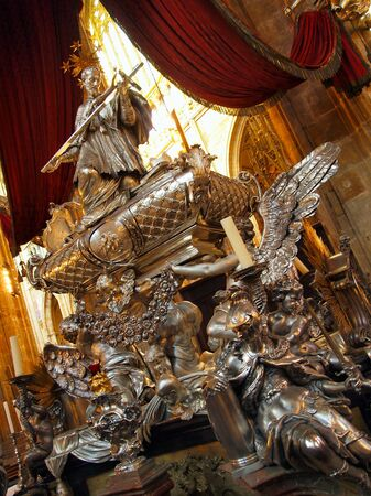 Gold statue in Saint Vitus Cathedral in Prague