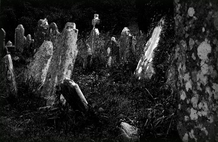 Old irish graveyard in black and white photo