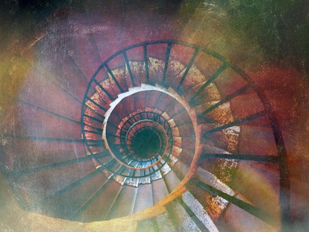 Spiral stairs Villa Deste, Tivoli, Italy - vintage version Stock Photo