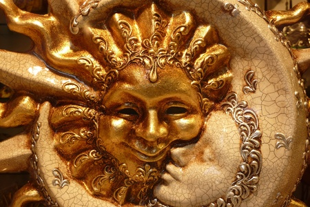 Sun and moon mask from Venice  Stock Photo