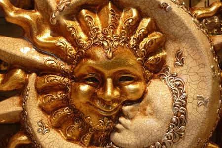 zon maan: Zon en maan masker van Venetië Stockfoto