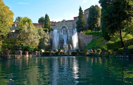Great fountain and garden at the villa of cardinal Ippolito d`Este, Tivoli, Italy  Stock Photo